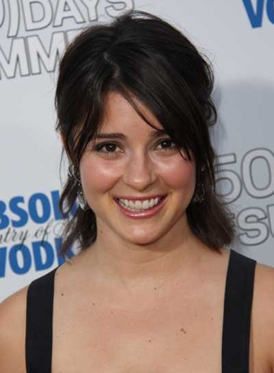 Shiri Appleby Medium, Brunette, Straight, Tousled Half Updo with Bangs