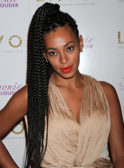 Solange Knowles Long, Chic, Edgy, Funky, Black Ponytail with Braids and Twists
