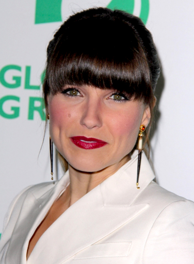 Sophia Bush's Brunette, Chic, Ponytail Hairstyle with Bangs