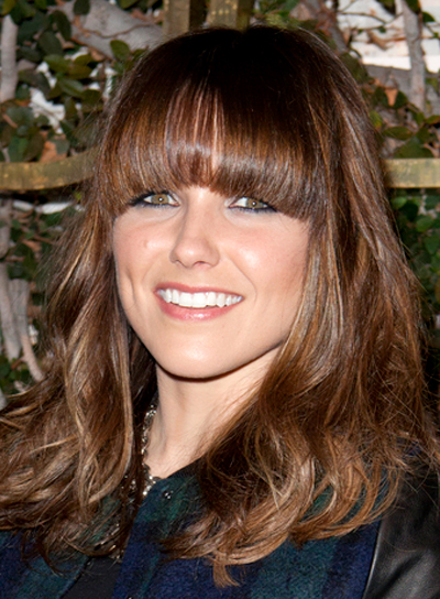 Sophia Bush's Medium, Brunette, Tousled Hairstyle with Bangs