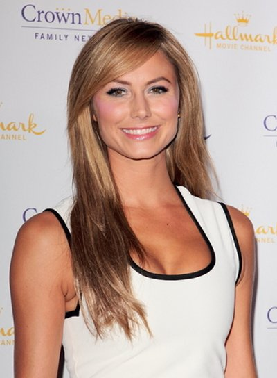 Stacy Keibler Long, Straight, Blonde Hairstyle with Bangs