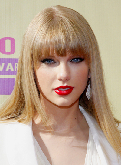 Taylor Swift's Long, Blonde, Straight Hairstyle with Bangs