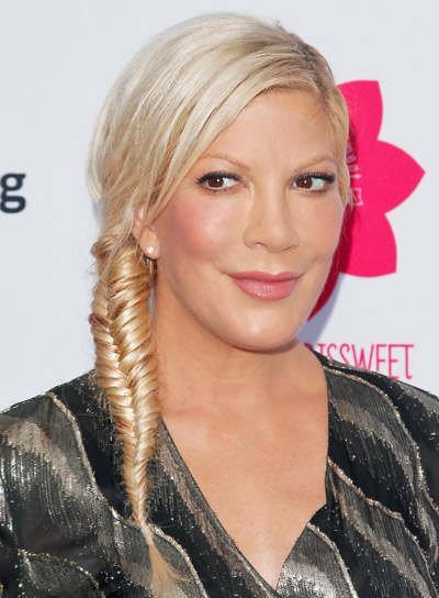 Tori Spelling's Long, Blonde, Funky, Updo with Braids and Twists Hairstyle