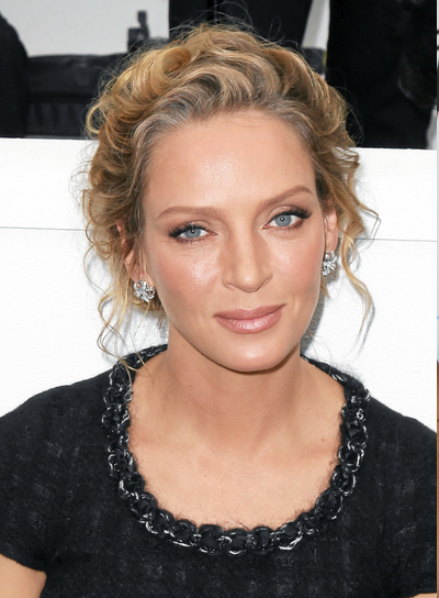 Uma Thurman Medium, Romantic, Wavy, Blonde Updo