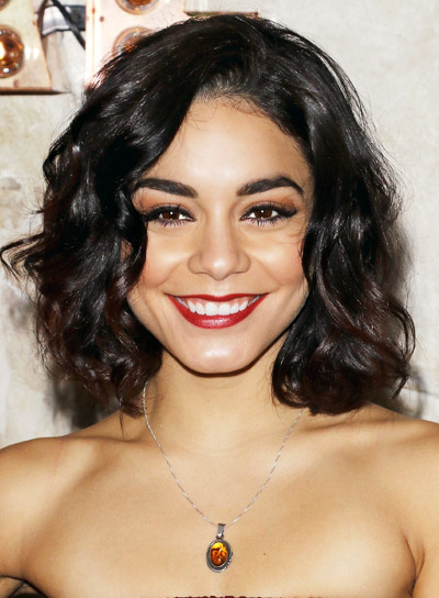 Vanessa Hudgens' Short, Curly, Brunette, Thick, Party Hairstyle