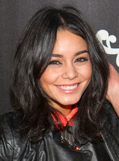 Vanessa Hudgen's Medium, Black, Edgy, Tousled Hairstyle