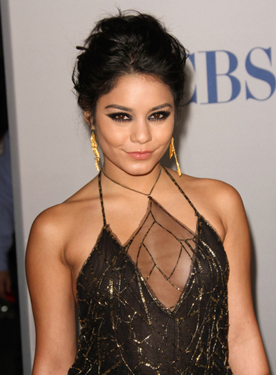 Vanessa Hudgens Short, Wavy, Sexy, Formal, Brunette, Updo