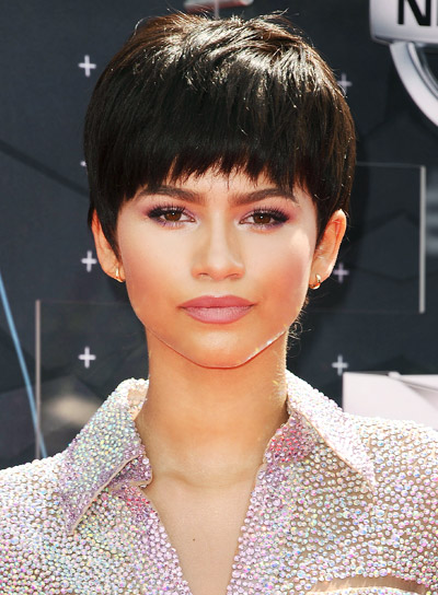 Zendaya's Short, Brunette, Stright, Funky Hairstyle