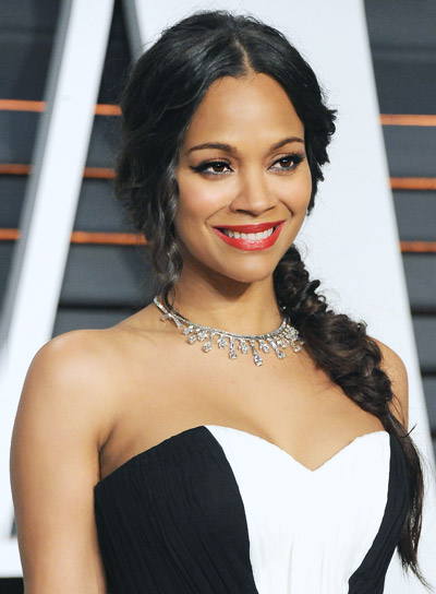 Zoe Saldana Long, Brunette, Sexy Hairstyle with Braids and Twists