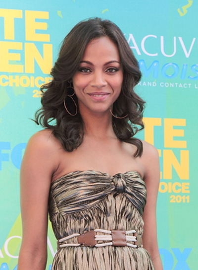 Zoe Saldana's Medium, Curly, Romantic, Black Hairstyle