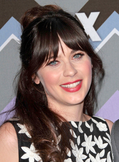 Zooey Deschanel's Long, Brunette, Half Updo Hairstyle with Bangs