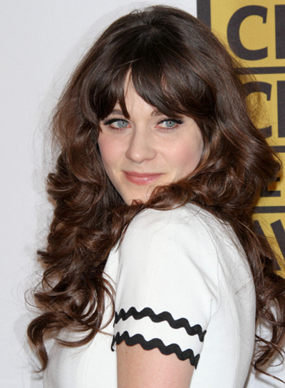 Zooey Deschanel Long, Curly, Brunette Hairstyle with Bangs